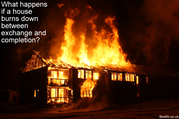 What happens if a house burns down between exchange and completion