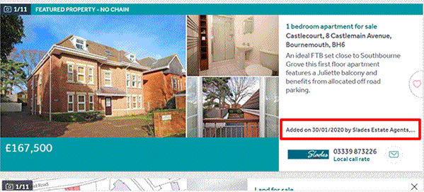 How do you find out how long a house has been on the market on Rightmove
