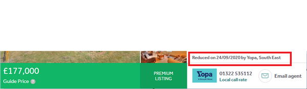 Can you see price history on Rightmove premium listing before Property Log larger