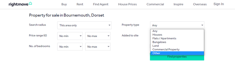 Cluster house type on Rightmove