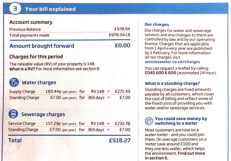 How to find rateable value of a home - water rates bill small