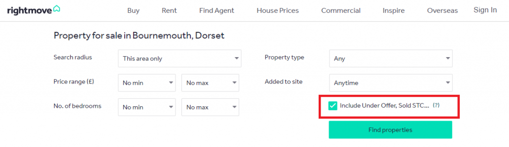 Searching houses under offer sold STC