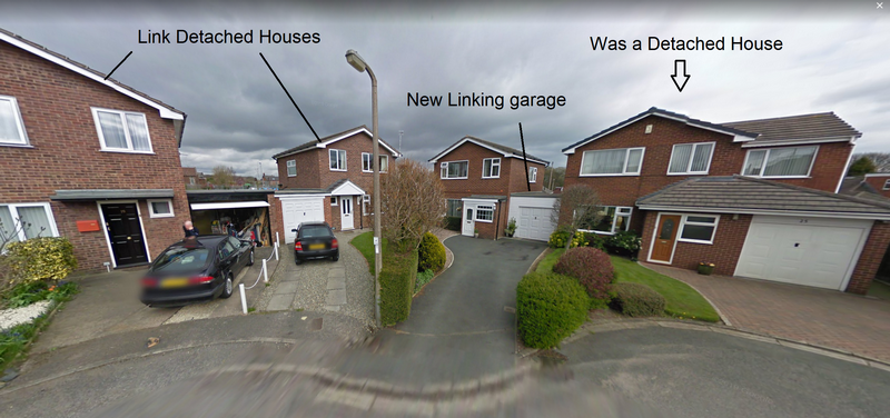 What is a link detached house - picture of detached house becoming link detached